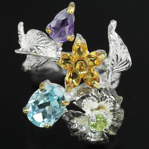 Серебряное кольцо с аметистом натуральным