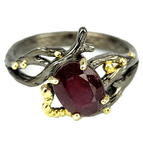 ☯Серебряное кольцо с розовым корундом натуральными