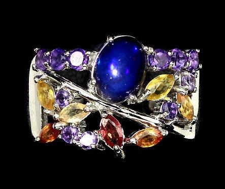 ☯Серебряное кольцо с опалом, аметистом и сапфиром натуральным
