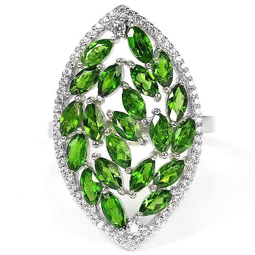 Купить серебряное кольцо с  хром диопсидом. Хром диопсид в серебре