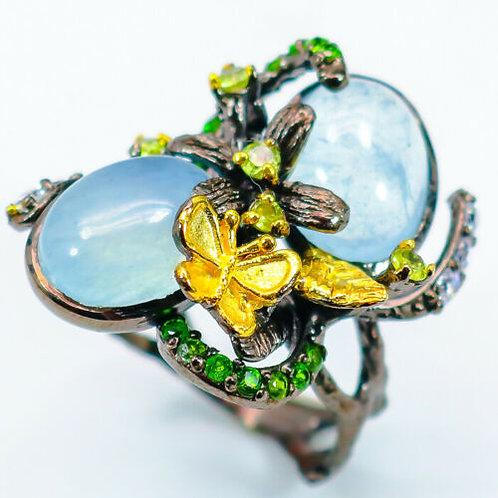 Серебряное кольцо с аквамарином натуральным