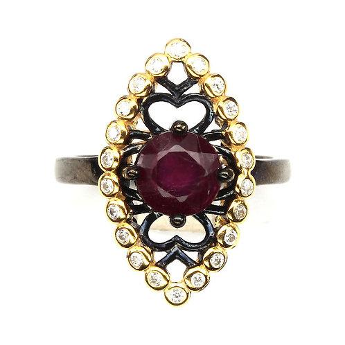Серебряное кольцо с рубином натуральным