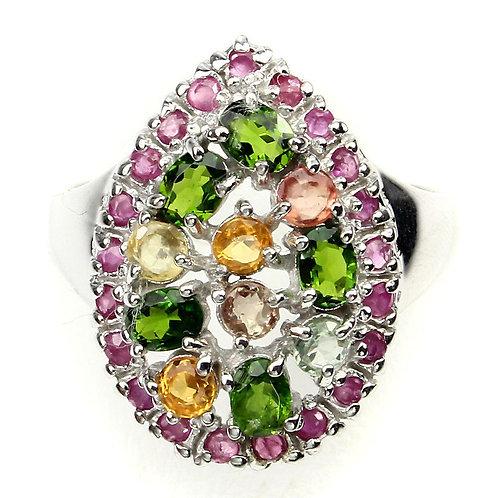 Серебряное кольцо с хром диопсидом, рубином и сапфиром натуральным