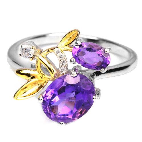 ☯Серебряное кольцо с аметистом натуральным