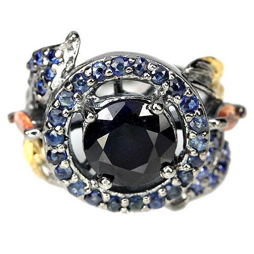 ☯Серебряное кольцо с сапфиром натуральным