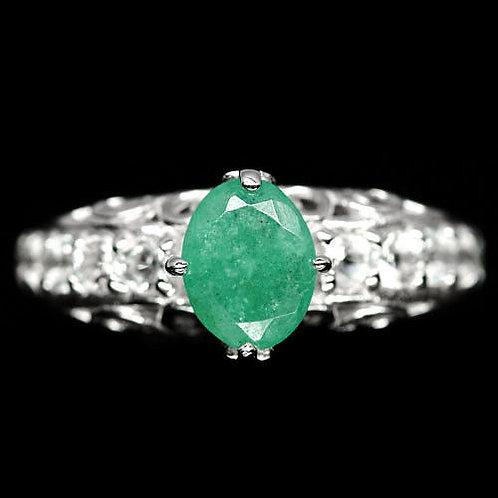 ☯Серебряное кольцо с изумрудом натуральным