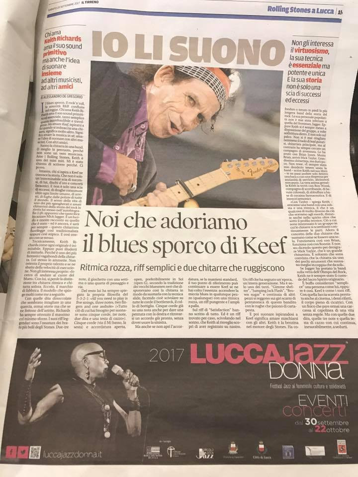 The Rolling Stones came to town and so the articles in the local newspapers flourished and what an honour to have my photo for Lucca Jazz Donna published underneath a full page on Keith Richards and the Stones!!!