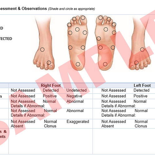 Neurovascular Assessment Record Card