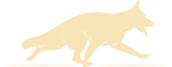 Stylized pale yellow image of a running German Shepherd