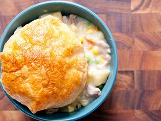 Leftover Turkey Pot Pie with Biscuit Crust