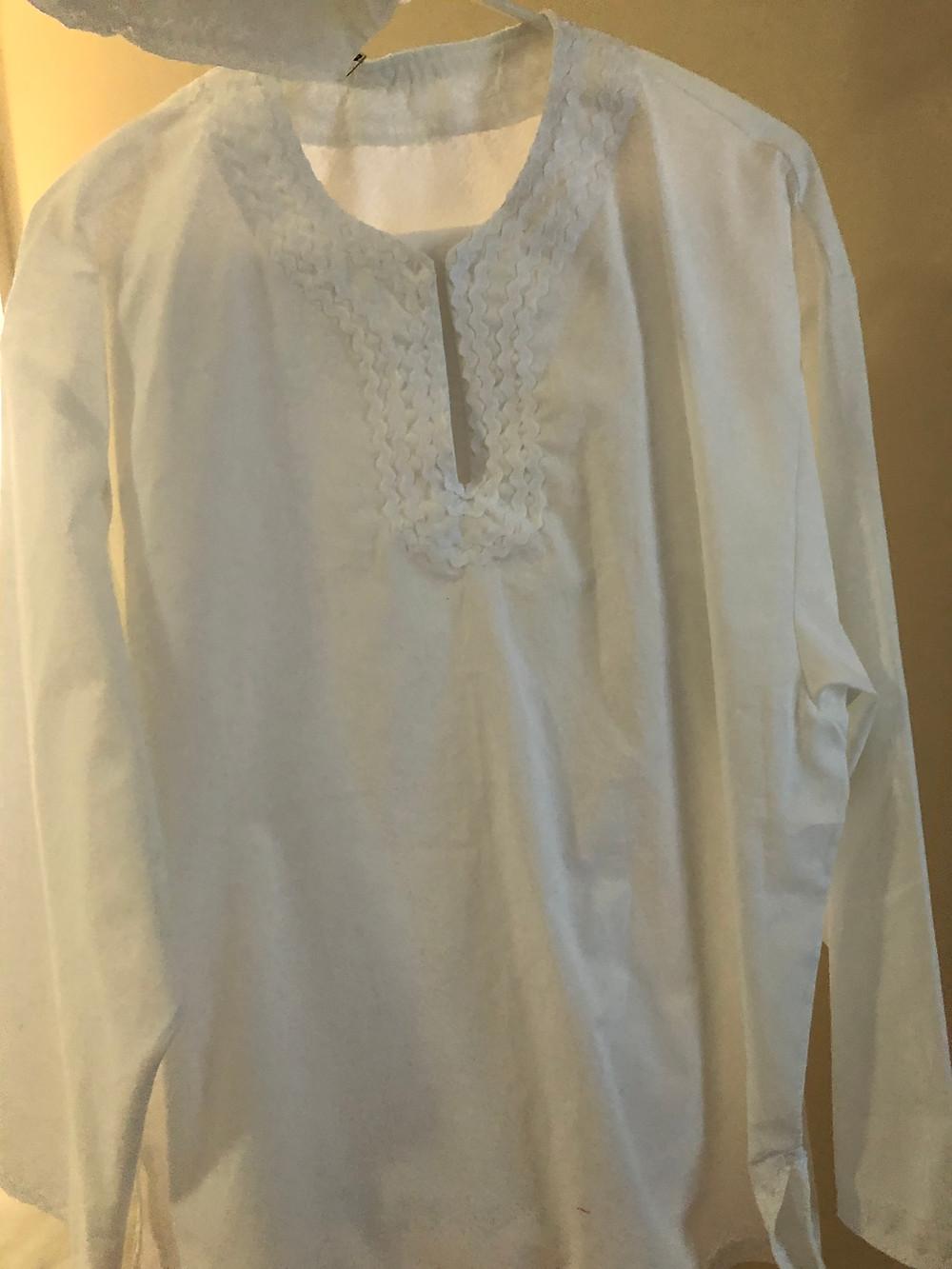 White dashiki for iyawo Shango