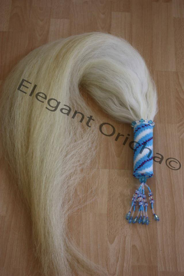 Beaded horse tail whip