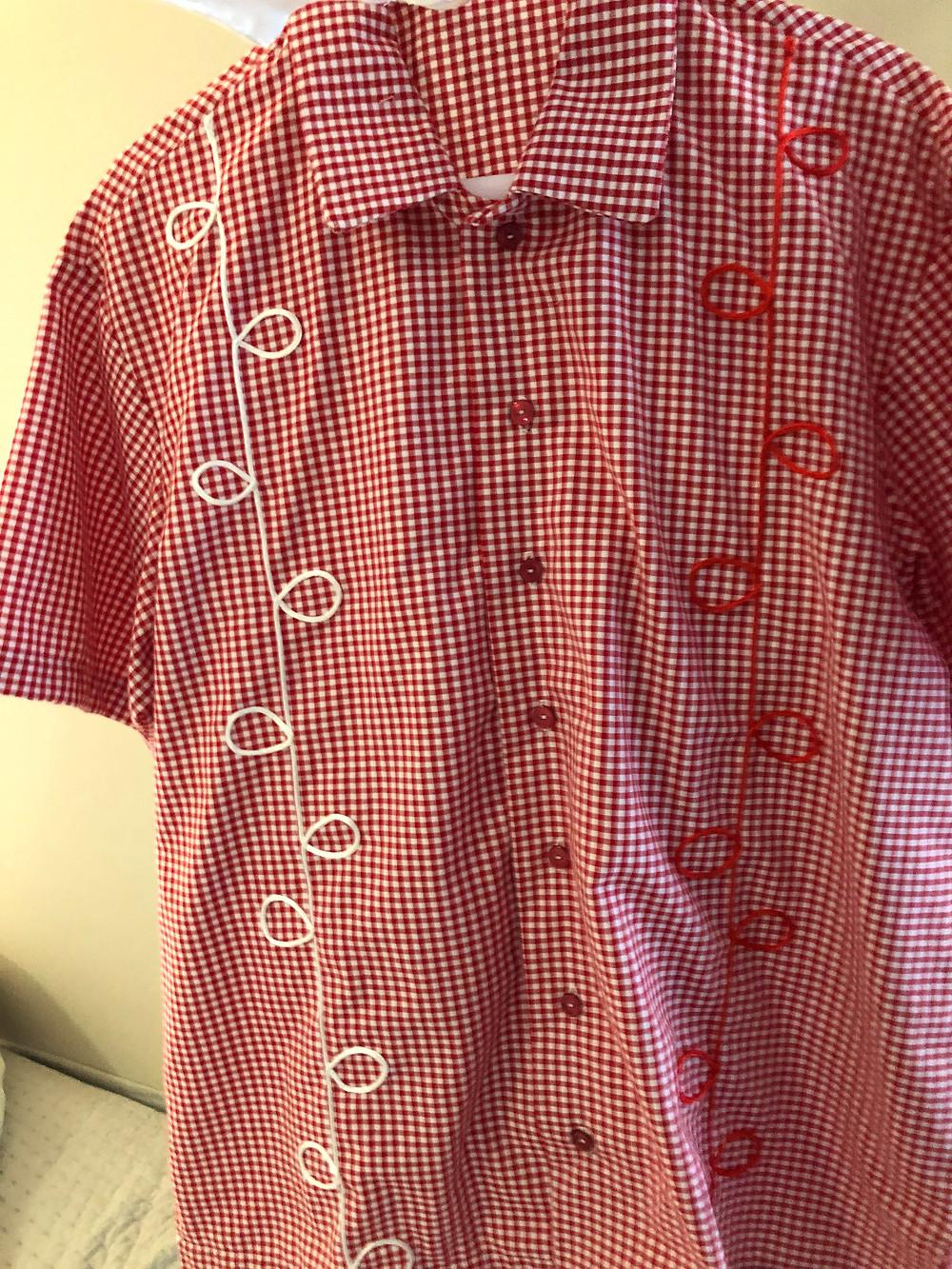 Red gingham shirt for an iyawo Shango