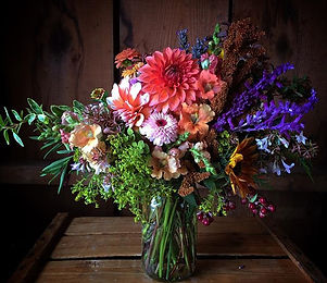 Subscription bouquet.  Dahlias, Zinnias, Snapdragon, Sunflowers, Aconitum, Amaranth, Abelia.......Fa