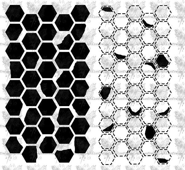 Honeycomb~ Large ~ France Papillon stencil