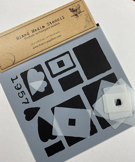 Rectangles ~ Small ~ France Papillon stencil + mask