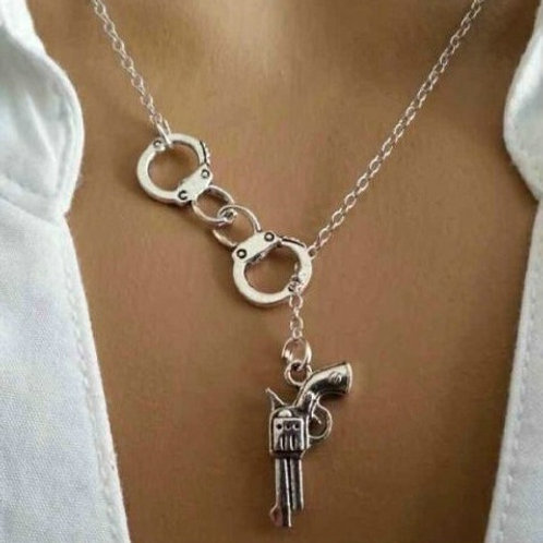 2 Pcs Handcuff and Gun Necklace