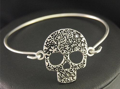 Skull Wire Cuff Bangle Bracelet