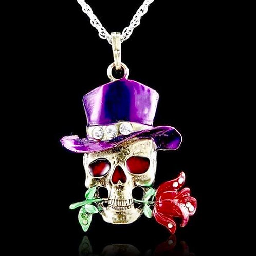 Skull Necklace with Rose