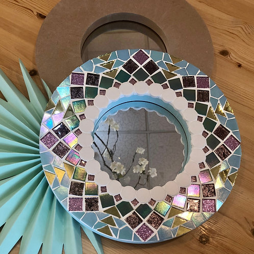 """12"""" Round Mosaic Mirror"""