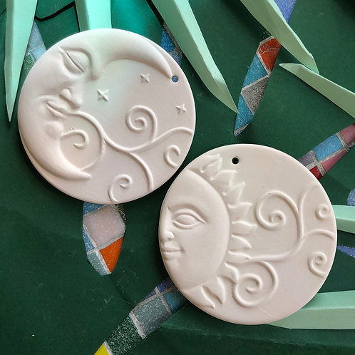 Sun & Moon Ornament Pair
