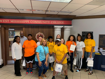 Campers pose for a picture with Dean-Dr Keith Reed and Funeral Technology Instructor Ebone Dukes