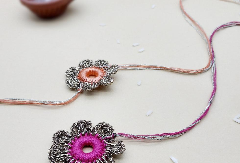 Whe Set of 2 Handmade Crochet Rakhi combo