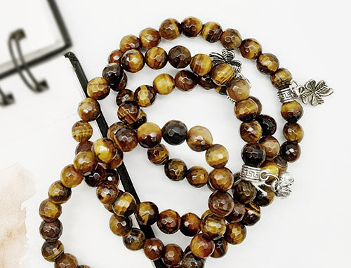Whe Unisex Set of 4 Genuine Tiger Eye Gemstone Strength Bracelet
