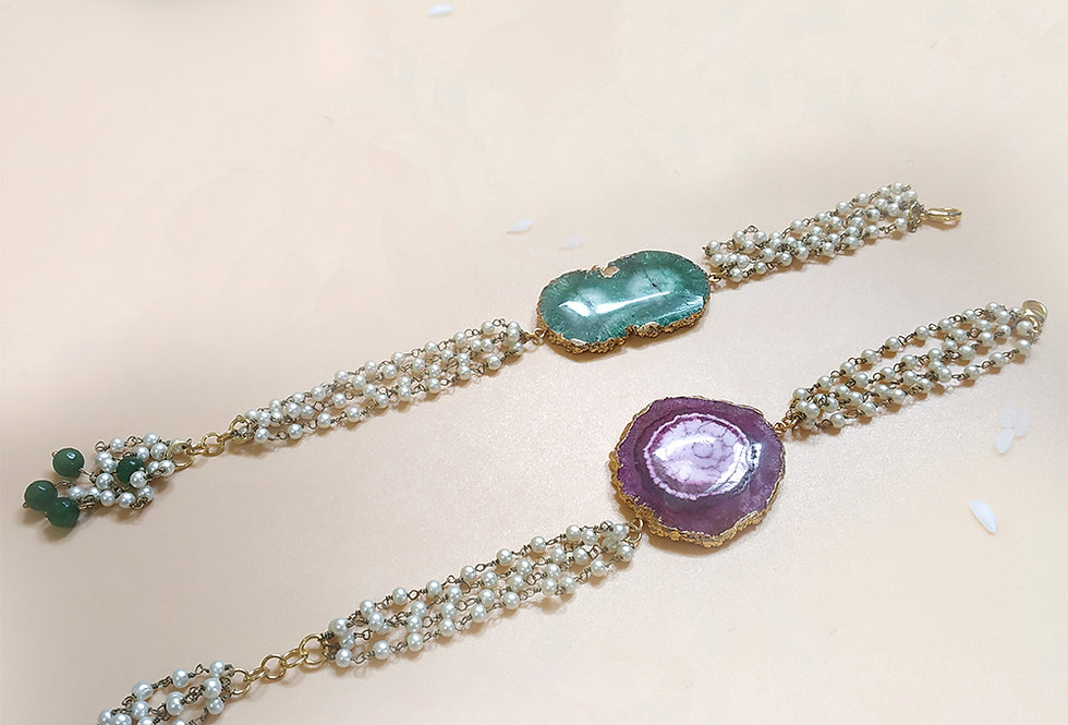 Whe Set of 2 Gemstone bracelet cum rakhi