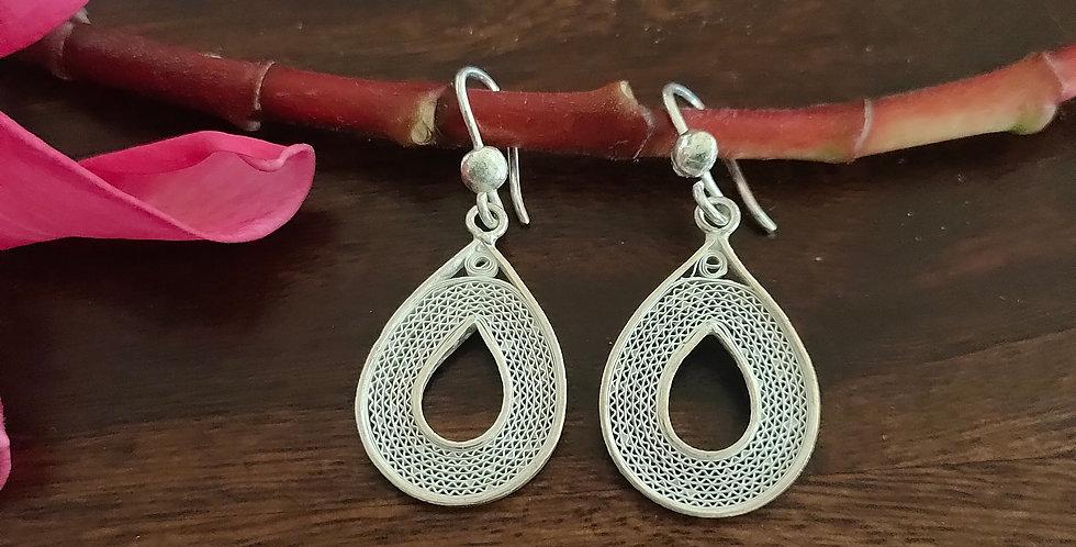Silver Filigree Drop Earrings (Heavy)