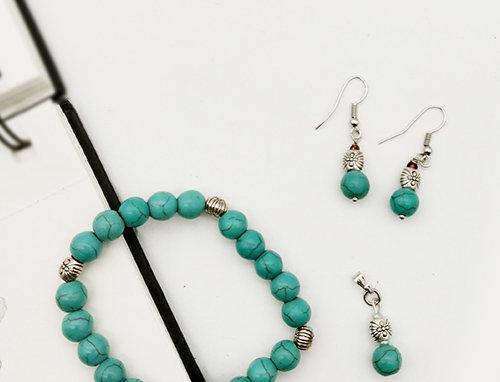 Whe Genuine Gemstone Turqoise Bracelet, Pendant and Earring Combo