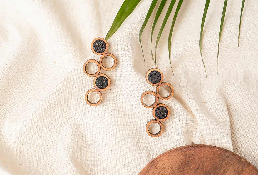 Black and Brown Unity Repurposed fabric and wood earring