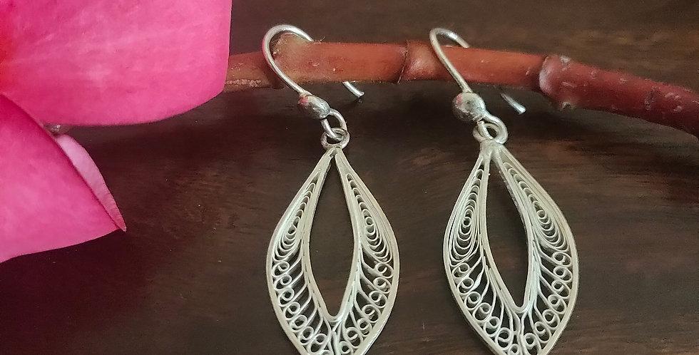 Silver Filigree Leaf Drop Earrings