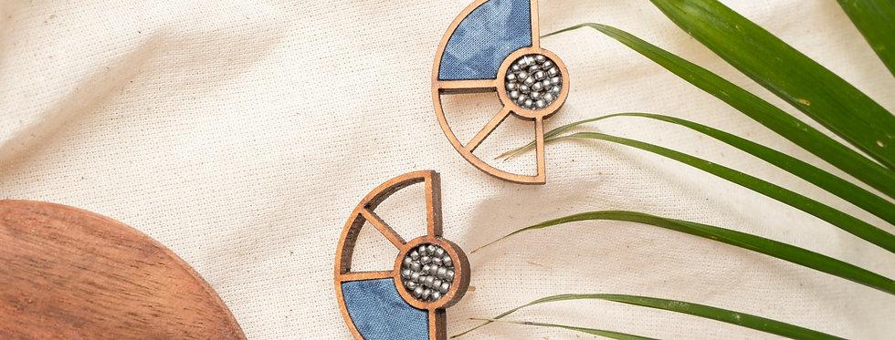 Blue Geometrical Repurposed Fabric and wood earring