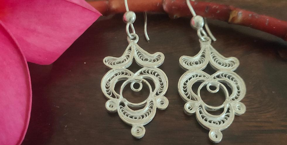 Silver Filigree Stylized Dangle Earrings