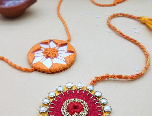 Whe Set of 2 Handmade Kundan and Mirror Rakhi Combo