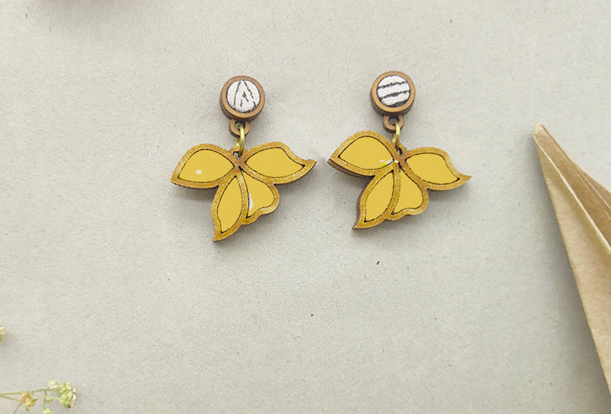 Floral Motif Repurposed Fabric and Wood Yellow Earring