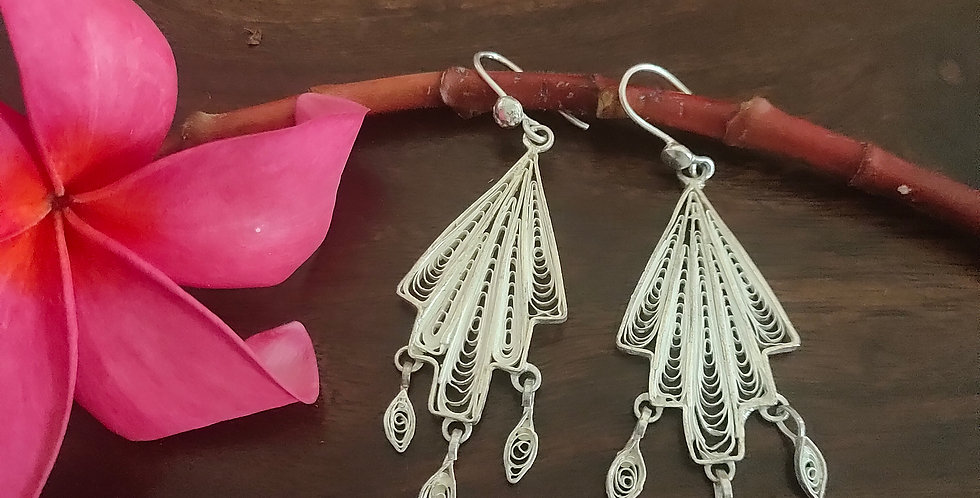 Silver Filigree Abstract Earrings
