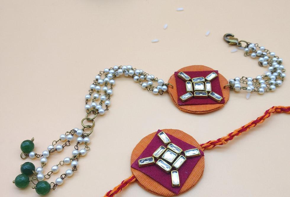 Handmade Kundan Fabric Bhaiya Bhabhi Rakhi Combo