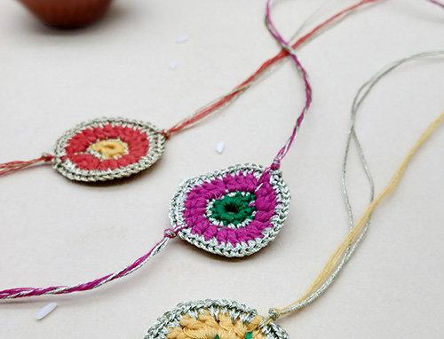 Whe Set of 3 Handmade Crochet Rakhi combo