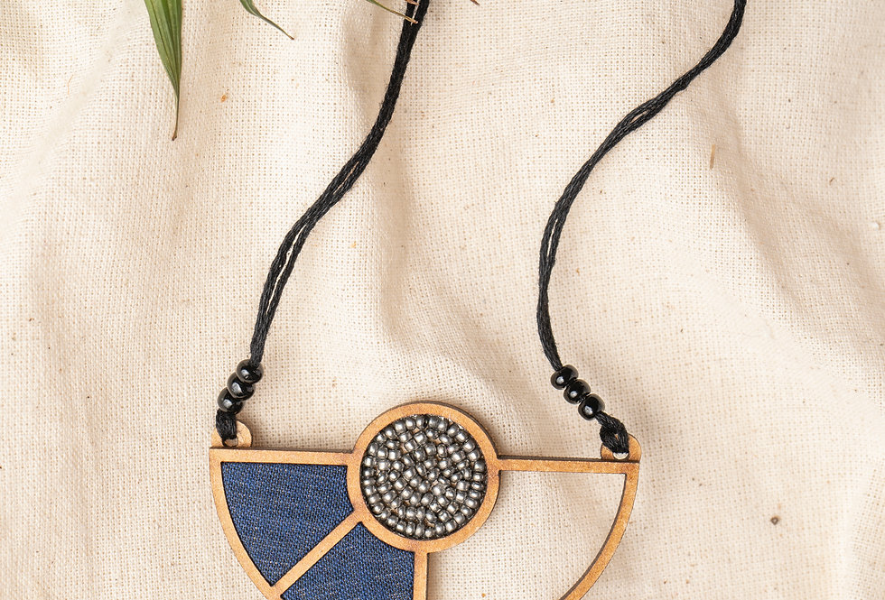 Blue Geometrical Repurposed Fabric and Wood Adjustable Pendant Necklace