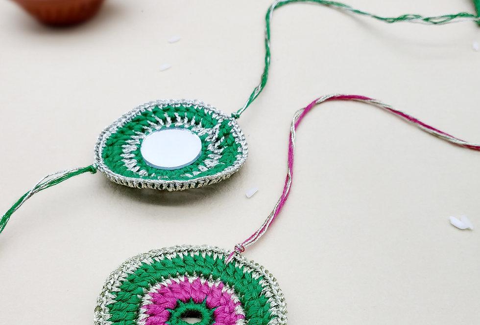 Whe Set of 2 Handmade Crochet Mirror Rakhi combo
