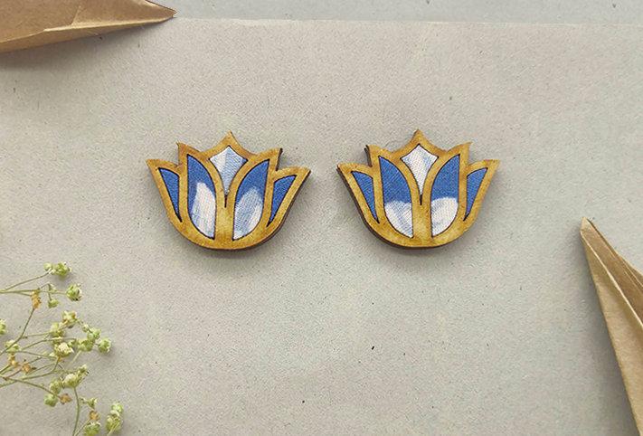 Lotus Repurposed Fabric and Wood Indigo Stud