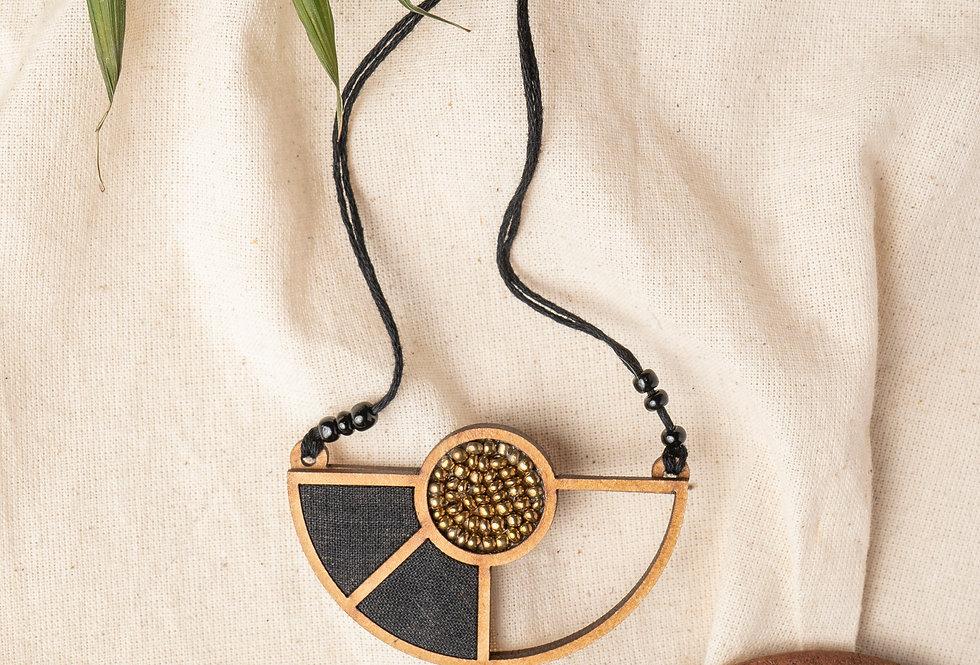 Black Geometrical Repurposed Fabric and Wood Adjustable Pendant Necklace