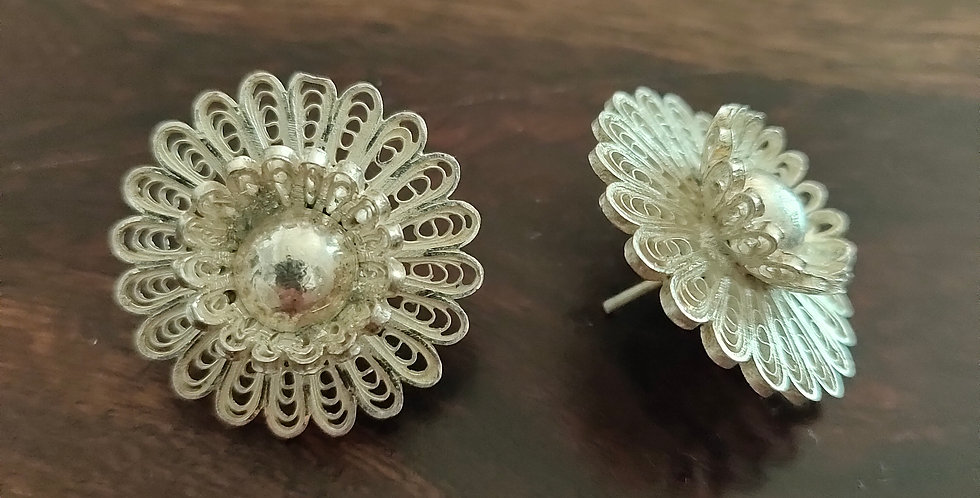 Silver Filigree Sunflower Stud Earring