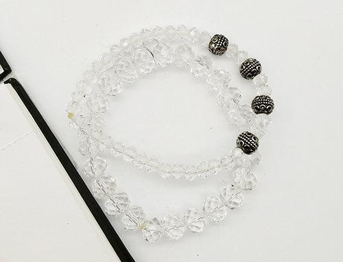 Whe Set of 2 Glass Cystal Bracelets