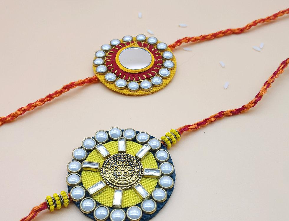Set of 2 Handmade Kundan Fabric Rakhi Combo