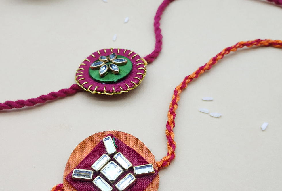 Whe Set of 2 Handmade Kundan Rakhi Combo