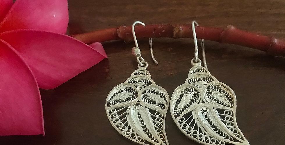 Silver Filigree Multi-Leaf Earrings