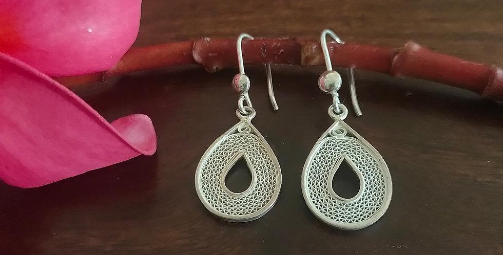 Silver Filigree Drop Earrings (Light)